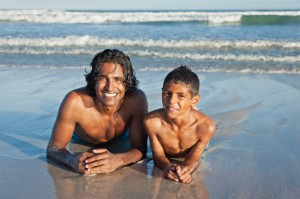 dad son beach